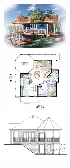 Lakefront Style COOL House Plan ID: chp-10500 | Total Living Area: 840 sq. ft., 1 bedroom and 1 bathroom. #lakefronthome