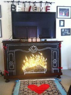 Faux fireplace by Juanita