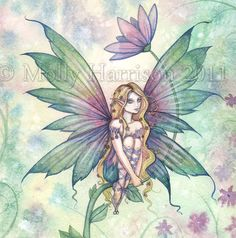 Mystic Garden - Flower Fairy Fine Art Giclee Print - Fantasy Illustration by Molly Harrison 9 x 12