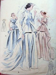 to original vintage wedding dress inspiration from original vintage patterns for custom Silver Sixpence wedding dresses.
