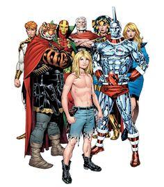 Earth 51 : Kamandi, Prince Tufta (of the Tiger Clan), biOMAC (Ben Boxer) and New Gods Lightray, Mister Miracle (Scott Free), Highfather, Big Barda & Avia.