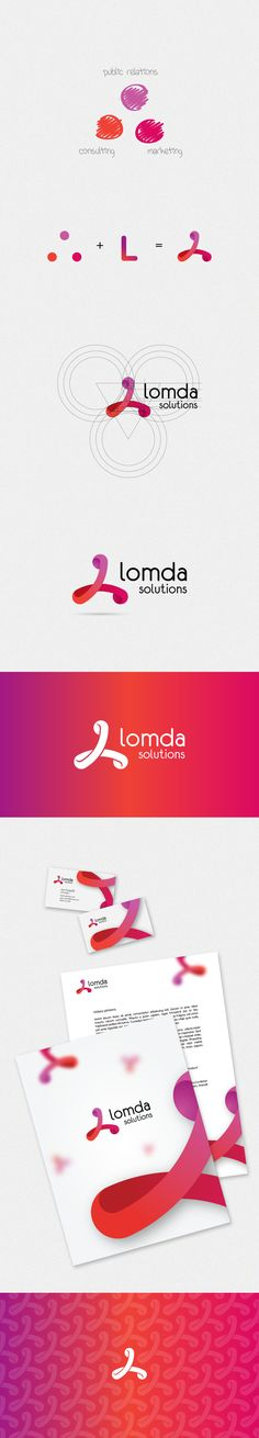 Nice way to show process and application. lomda Logo Design Inspiration. Circles, Geometric