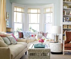 Soft hues make this airy living room a relaxing space. See the rest of it here: http://www.bhg.com/decorating/do-it-yourself/room/fresh-family-living-space/?socsrc=bhgpin052313freshfamilylivingspace