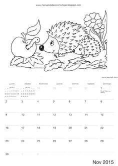 Calendario 2015 para colorear-niños de Manualidadesconmishijas Noviembre - November calendar