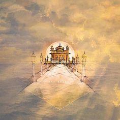 dithe sabhe than nahin tudh jeha (of all places that I have seen none compare with you) guru arjan dev ji wrote upon completing harmandir sahib. beautiful art by Guru Granth Sahib Quotes, Sri Guru Granth Sahib, Guru Nanak Ji, Nanak Dev Ji, Sikh Quotes, Gurbani Quotes, Paros, Sikhism Religion, Guru Nanak Wallpaper