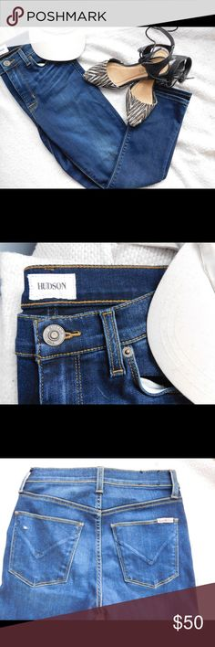 NWOT Hudson Jeans. Cropped skinnies, dark wash NWOT Hudson Jeans. Kick ass cropped skinny style. Too small for me, wish I could keep! Hudson Jeans Jeans Ankle & Cropped