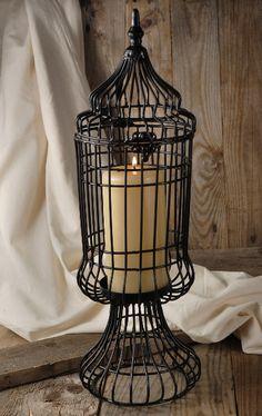 "19"" Black Metal Birdcage Candleholder $19. Great for Halloween!"