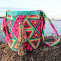 Camila Bag: Now available from Akalia Boutique. Gorgeous and hand crocheted by the Wayuu tribe from Northern Colombia. 100% Cotton. Each bag takes 10-15 days to make by hand