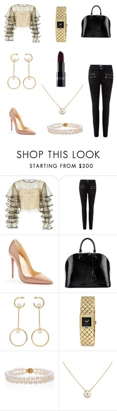 """High End Frills"" by grace-alexandria ❤ liked on Polyvore featuring HUISHAN ZHANG, Paige Denim, Christian Louboutin, Louis Vuitton, Chloé, Chanel, Belk & Co. and Cartier"