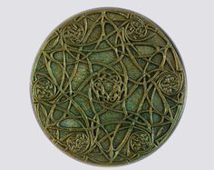 Celtic Knot Art, Garden Stone Sculpture, Green Celtic Star, Ireland Wall Art, Irish Home Decor