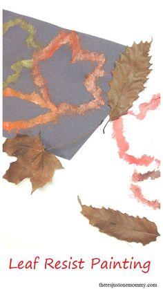 Simple fall kids craft idea -- leaf resist painting