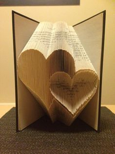 Book folding pattern for 2 Hearts ~ Love ~ Romance ~ Anniversary ~ Wedding +FREE tutorial by BookFoldingForever on Etsy