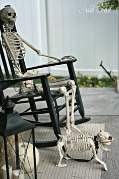 Nob Hill - outdoor halloween skeleton display ideas - halloween decor #skeletons #halloween #halloweendecor