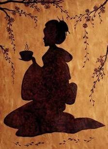Japanese tea ceremony silhouette