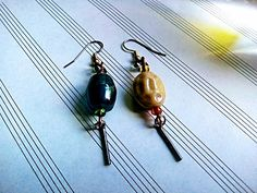 Glass Bead Earrings, Indian Earrings, #Hippie #Chic, #Mismatched Set, Gypsy Earrings, Mixed Metal, Surgical Steel Ear Hooks, Wire Wrapped by cherokeedancing. Explore more products on http://cherokeedancing.etsy.com