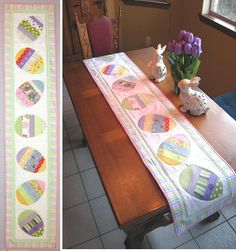 "Happy Hunting - Easter Table Runner  This Easter table runner is a great way to use scraps from your stash. If you prefer all the same fabric, that works too. This table runner goes together quickly for a last minute project. Approx. 16"" x 72"
