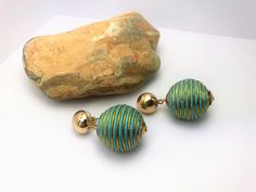 Beautiful AMRITA SINGH Vintage Style Turquoise & Gold Fabric ball drop Earrings. RRP 30.00 by LoubooluJewellery on Etsy Vintage Style, Vintage Fashion, Fabric Balls, Amrita Singh, Gold Fabric, Statement Jewelry, Belly Button Rings, Turquoise, Drop Earrings