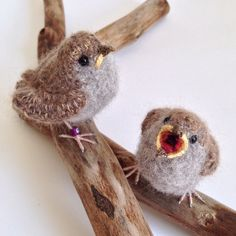 Baby sparrows in brushed alpaca and silk