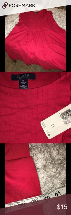 NWT Chaps Red Full Skirt Dress Size 14 New with tags!  Sundress with full cut skirt.  Solid red color.  Has front pleating accent  in bodice Size 14.  From Chaps.   Dress is 39.5 inches.  Important:   All items are freshly laundered as applicable prior to shipping (new items and shoes excluded).  Not all my items are from pet/smoke free homes.  Price is reduced to reflect this!   Thank you for looking! Chaps Dresses Midi