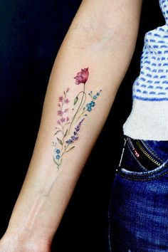 Flower tattoo on forearm New School by Olga Lierre - Flower tattoo on forearm . - Flower tattoo on forearm New School by Olga Lierre – Flower tattoo on forearm New School by Olga - Vintage Flower Tattoo, Simple Flower Tattoo, Forearm Flower Tattoo, Small Forearm Tattoos, Flower Tattoo Shoulder, Small Flower Tattoos, Vintage Tattoos, Flower Tattoo Designs, Watercolor Flower Tattoos