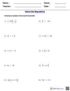One Step Problems Worksheets