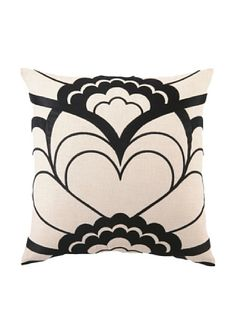 50% OFF or more Trina Turk Deco Floral Embroidered Pillow (Black) #home #Home