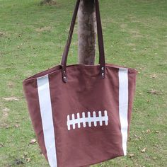 Domil Wholesale Sports Bag Football Tote Bags with PU faux Canvas Tote Bag Leather Handle