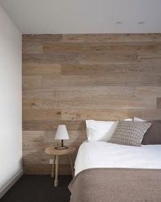 Montage: 26 Rooms with Wood-Clad Feature Walls wood-wall-pale-bedroom
