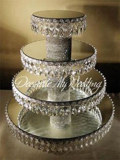 50 Trendy wedding cakes with bling crystals cupcake stands Cupcake Stand Wedding, Cake And Cupcake Stand, Wedding Cake Stands, Cupcake Display, Cupcake Stands For Weddings, Cake Stands Diy, Wedding Cupcakes Display, Cupcake Tier, Cupcake Cakes
