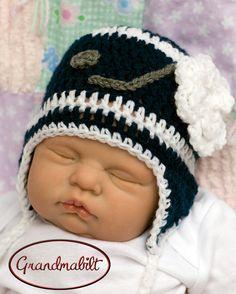 Girls Newborn Hockey Helmet Ear Flap Hat with Ties by Grandmabilt, $22.00