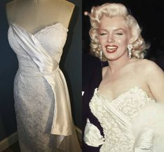 """Marilyn Monroe's dress she wore for the premiere of """"How To Marry A Millionaire"""" 1953. She also wore it on the Jack Benny Show. In those days they wore the same outfit more than once"""