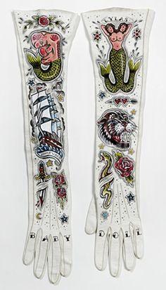 """""""LYLAS"""" hand painted vintage glove by Chicago artist Ellen Greene"""