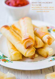 Skinny Two-Ingredient 110 Calorie Mozzarella Cheese Sticks