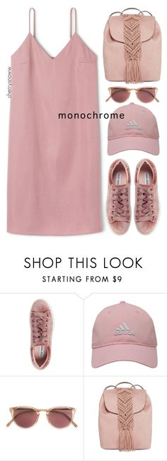 """Pink from head to toe"" by cherrysnoww ❤ liked on Polyvore featuring Steve Madden, adidas Golf, Oliver Peoples and T-shirt & Jeans"