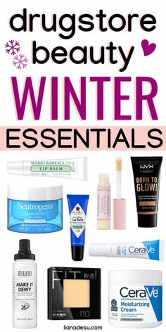 Winter Drugstore Beauty Essentials - liana desu - - Winter is just around the corner! Keep your skin hydrated during the cold and dry months of winter with these drugstore beauty essentials! Drugstore Makeup Dupes, Beauty Dupes, Beauty Skin, Beauty Hacks, Health And Beauty, Diy Beauty, Makeup Tutorial Drugstore, Beauty Guide, Face Beauty