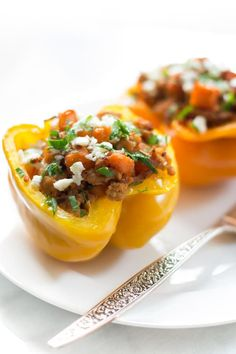 Ground turkey sweet potato stuffed peppers Primavera Kitchen Recipe