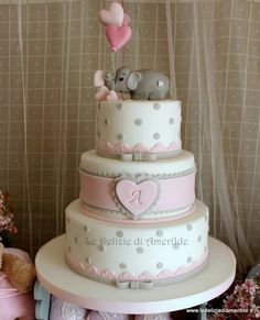 Pink and Gray Elephant Cake  maybe just the top 2 layers    love the elephant