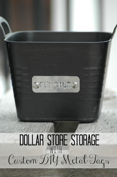 Dollar Store Plastic Storage Bins with Custom Metal Tags {MonthlyDIYChallenge}