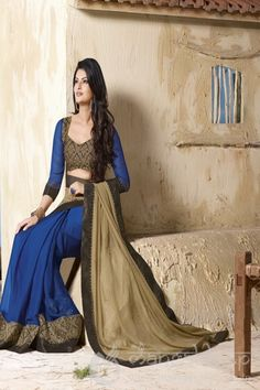 httpwwwmangaldeepcoinsareeselegant light coffee blue black and georgette moss chiffon half and half saree 5683 for further inquiry call us or whats