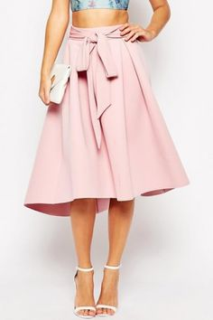 Solid Color Self Tie A Line Skirt For Women
