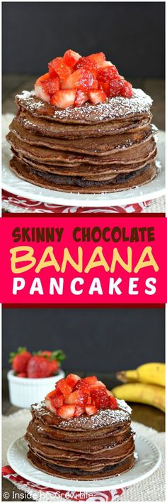 Skinny Chocolate Banana Oatmeal Pancakes - these easy & healthy pancakes are loaded with protein. Great breakfast recipe to start out the day with!