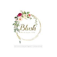 Logo Floral, Flower Logo, Boutique Names, Boutique Logo, Logo Couronne, Logo Rond, Logo Fleur, Watercolor Logo, Watercolor Flowers
