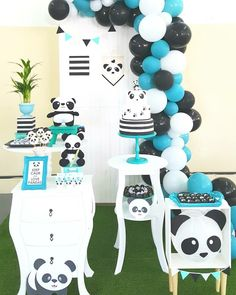 Panda menino festa Panda Party, Panda Themed Party, Panda Birthday Party, Bear Party, Baby Shower Themes, Baby Boy Shower, Birthday Party Decorations, Party Themes, Party Ideas