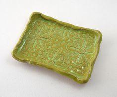 Bright Green Soap Dish  Hand built Lace by PrairieCoastDesign