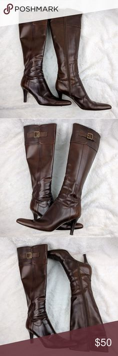 Brooks Brothers Brown Leather Boots Brooks Brothers Brown Leather Boots Size: 7 Made in Italy Genuine leather. Total length about 18.3 in Some distressing, but overall good condition. Doesn't need new soles. Thanks for stopping by Brooks Brothers Shoes Heeled Boots