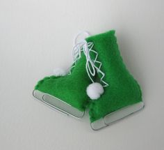 Apple Green Felt Christmas Ornament Ice Skate Home by ArtfulEnds, $12.00