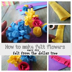 How to make felt flowers the easy way ((With links to other felt flower tutorials))