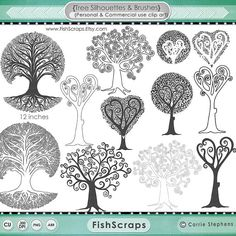 Sale 40% Tree Clip Art - Tree Silhouettes - Photoshop Brushes, Digital Stamps -  DIY Wedding Guestbook, Family Tree, Geneology