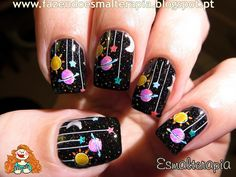 """Bundle Monster designs 2014 Create Your Own (CYO) contest fans plate set nail art design DIY Manicure stamp stamping 2014 """"Create Your Own"""" Collection - Atoms Create Cute Nail Art, Cute Nails, Pretty Nails, Neon Nails, Diy Nails, Gradient Nails, Galaxy Nail Art, Space Nails, Nail Art Designs Videos"""