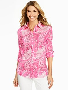 Talbots - Print Cotton Shirt-Feather Paisley | | Misses Discover your new look at Talbots. Shop our Print Cotton Shirt-Feather Paisley for stylish clothing and accessories with a modern twist at Talbots